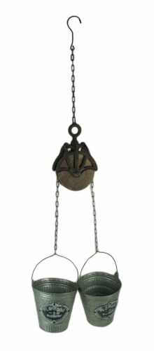 Rustic Farmhouse Double Pail and Pulley Indoor/Outdoor Hanging Planter Perspective: front