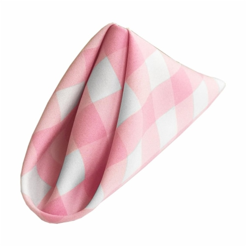 LA Linen 1818check-Pk10-Gingham Checkered Napkins, White & Pink - 18 x 18 in.-Pack of 10 Perspective: front