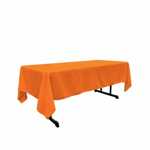 LA Linen TCpop60x120-OrangeP48 Polyester Poplin Rectangular Tablecloth, Orange - 60 x 120 in. Perspective: front