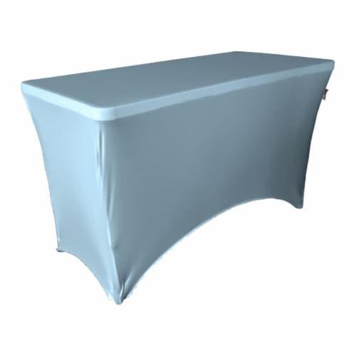 LA Linen TCSpandex48x30x30-BlueLightX18 Rectangular Spandex Tablecloth, Blue Light - 48 x 30 Perspective: front