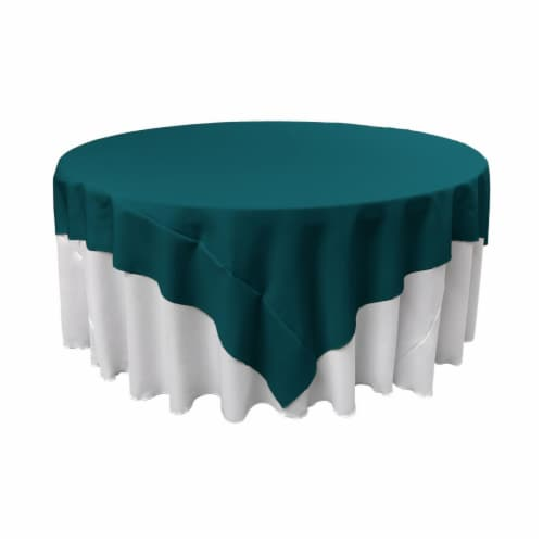 LA Linen TCpop72x72-TealDrkP82 Polyester Poplin Square Tablecloth, Dark Teal - 72 x 72 in. Perspective: front