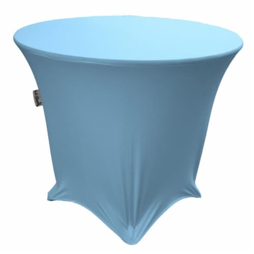 LA Linen TCSpandex48Rx30H-BlueLightX18 Round Spandex Tablecloth, Blue Light - 48 x 30 in. Perspective: front