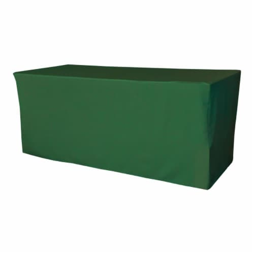 LA Linen TCpop-fit-72x24x30-GreenEmP32 2.1 lbs Polyester Poplin Fitted Tablecloth, Emerald Gr Perspective: front