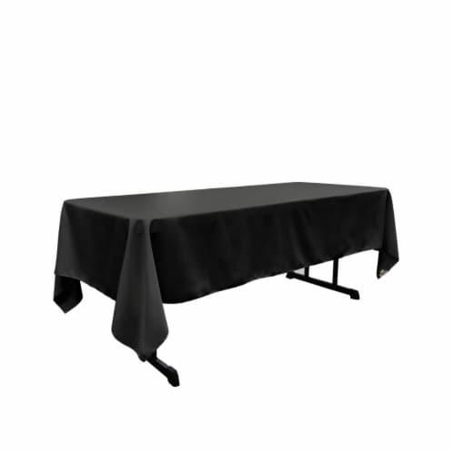 LA Linen TCpop60x144-BlackP24 Polyester Poplin Rectangular Tablecloth, Black - 60 x 144 in. Perspective: front