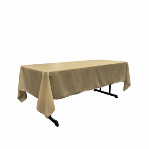 LA Linen TCpop60x144-TaupeP13 Polyester Poplin Rectangular Tablecloth, Taupe - 60 x 144 in. Perspective: front