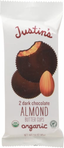 Justin's Dark Chocolate Almond Butter Cups 2 Count Perspective: front