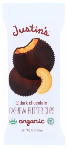 Justin's Dark Chocolate Cashew Butter Cups Perspective: front