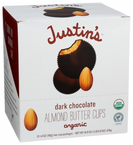 Justin's Dark Chocolate Almond Butter Cups Perspective: front