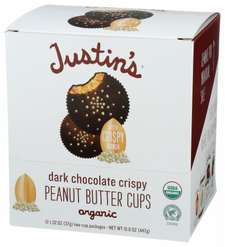 Justin's Organic Dark Chocolate Crispy Peanut Butter Cup Caddy Perspective: front