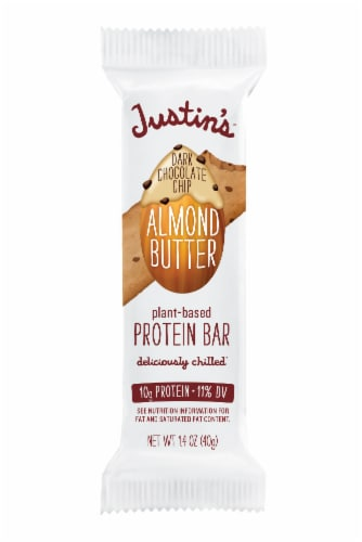 Justin's Chocolate Chip Almond Butter Plant-Based Protein Bar Perspective: front