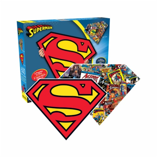 Aquarius DC Comics Superman Logo and Collage Double-Sided Shaped Jigsaw Puzzle Perspective: front