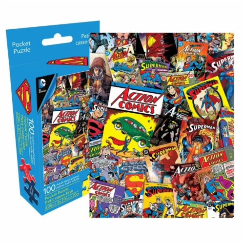 Super-Man 802266 Superman Adult Pocket Puzzle - 100 Piece Perspective: front
