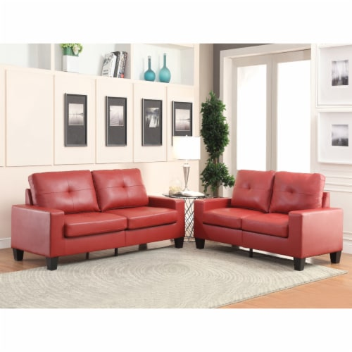 ACME Platinum II Tufted Fabric Back Sofa and Loveseat in Red PU Perspective: front