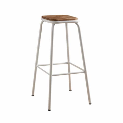 Saltoro Sherpi Industrial Style Metal Frame Wooden Bar Stool, Brown and White, Set of Two Perspective: front