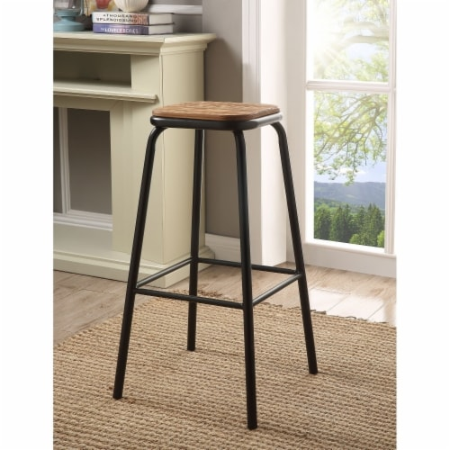 Saltoro Sherpi Industrial Style Metal Frame Wooden Bar Stool, Brown and Black, Set of Two Perspective: front