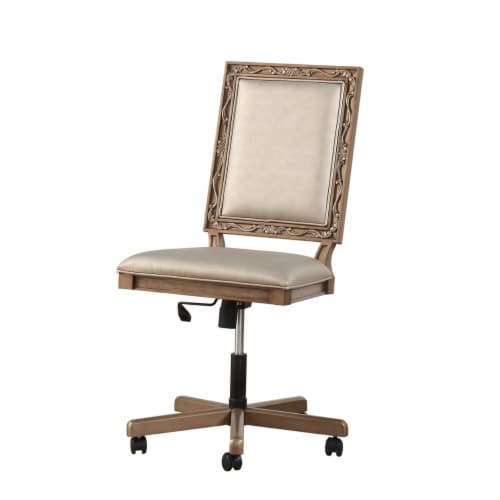 Saltoro Sherpi Wooden Executive Office Chair with Leatherette Upholstered Seat and Back, Perspective: front