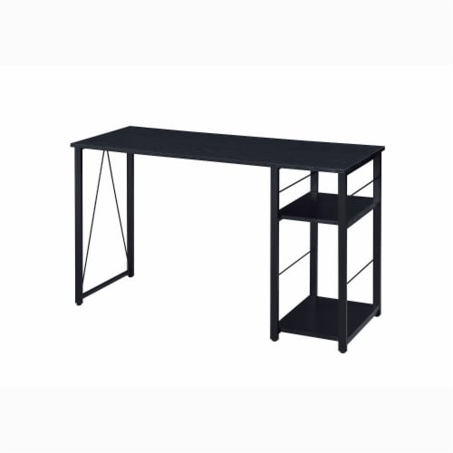 ACME Furniture 92769 Vadna Contemporary Metal Writing Desk with 2 Shelves, Black Perspective: front