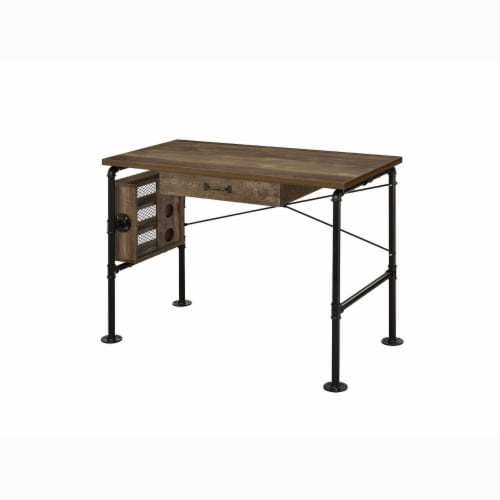 ACME Furniture 92595 Endang Industrial Metal Writing Desk with Drawer, Oak/Black Perspective: front