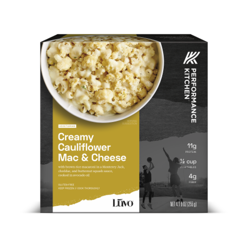 Luvo Performance Kitchen Roasted Cauliflower Mac & Cheese Frozen Meal Perspective: front