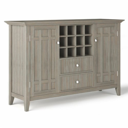 Simpli Home Bedford Wood 54  Transitional Sideboard Buffet and Wine Rack in Gray Perspective: front