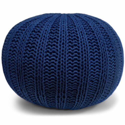Simpli Home Shelby Boho Round Hand Knit Pouf in Blue Cotton Perspective: front