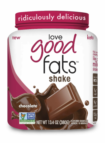 Love Good Fats Chocolate Milk Shake Perspective: front