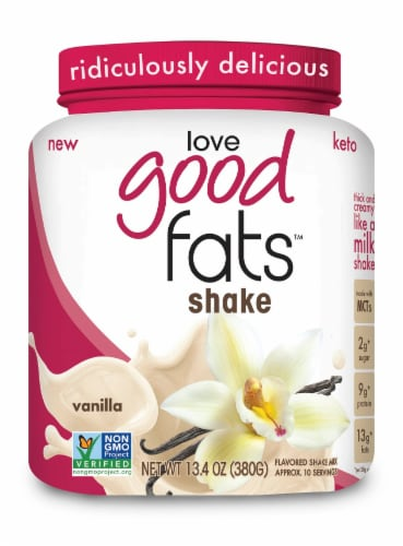 Love Good Fats Vanilla Flavored Shake Mix Perspective: front