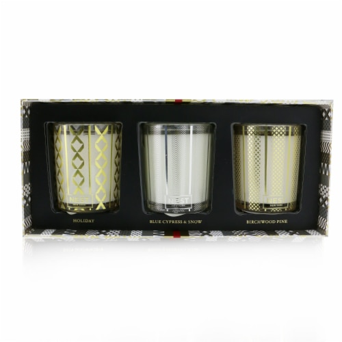 Nest Festive Votive Trio Candles Coffret: Holiday, Birchwood Pine, Blue Cypress & Snow 3x57g/ Perspective: front