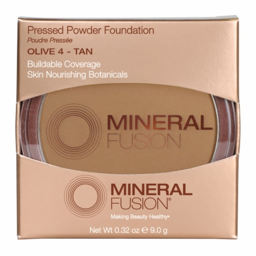 Mineral Fusion Olive 4 Tan Pressed Powder Foundation Perspective: front