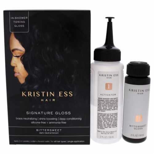 Kristin Ess Signature Hair Gloss  Bittersweet  Dark Neutral Brown Hair Color 1 Application Perspective: front