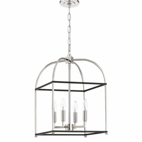 Mariana Home 621458 Archer 4 Light Lantern - Black & Polished Nickel Perspective: front