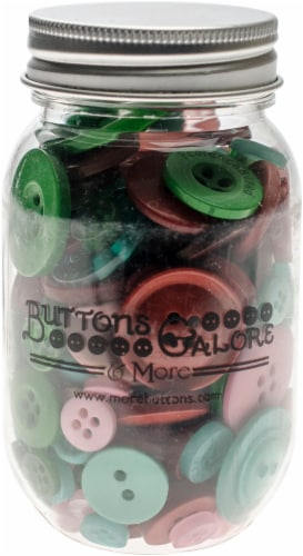Buttons Galore Button Mason Jars-Retro Christmas Perspective: front