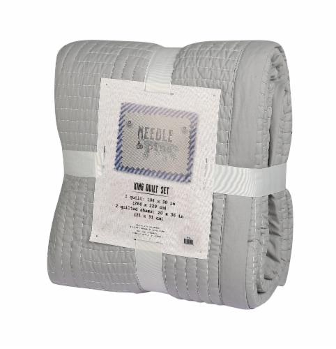 Denim Trading Post Zen Garden Quilt Set - 3 Piece - Gray Perspective: front