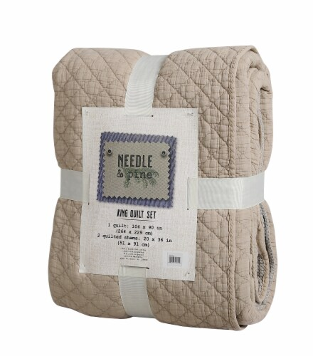 Denim Trading Post Waffle Quilt Set - 3 Piece - Mocha Perspective: front
