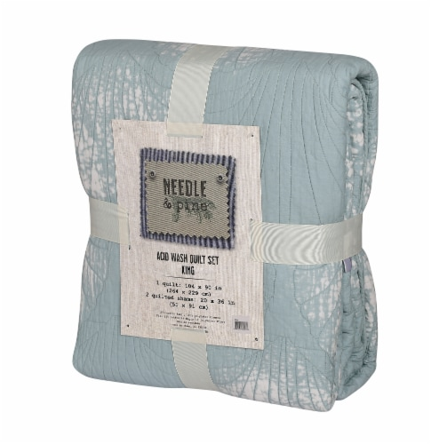 Denim Trading Post Needle & Pine Acid Wash Quilt Set - 3 Piece - Ice Blue Perspective: front