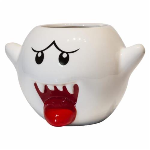 Super Mario Bros White Boo Molded Coffee Mug | 20 oz Perspective: front