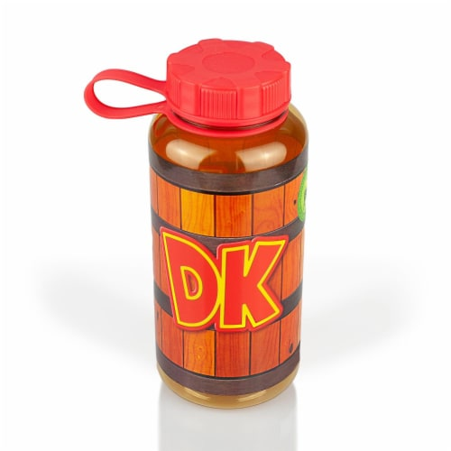 EXCLUSIVE Donkey Kong Water Bottle   Designed to Look Like DK's Barrel   24 Oz. Perspective: front