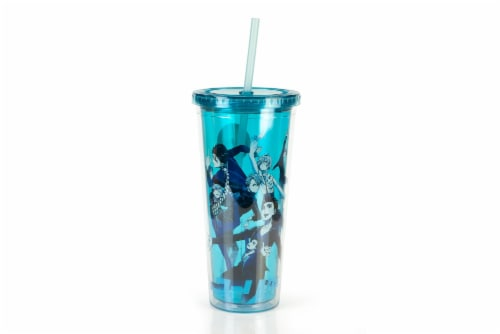Yuri On Ice Characters Plastic Tumbler Cup With Lid & Straw | Holds 16 Ounces Perspective: front