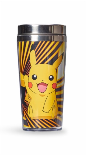 Pokemon Pikachu Travel Mug - 16oz BPA-Free Car Tumbler with Spill-Proof Lid Perspective: front