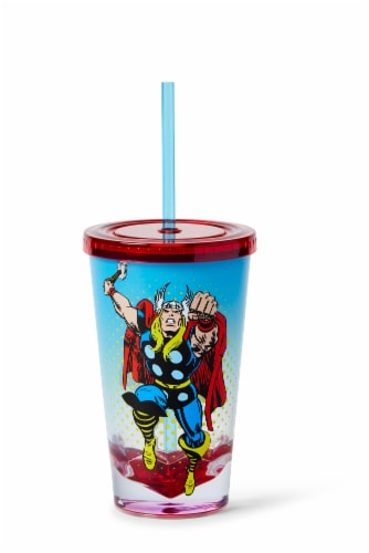 Marvel Thor God Of Thunder Plastic Tumbler Cup Lid & Straw   Holds 19 Ounces Perspective: front