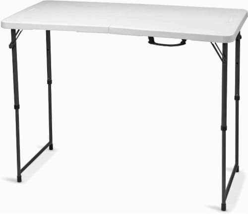 Lifetime Light Commercial Adjustable Fold-in-Half Table - White Granite Perspective: front