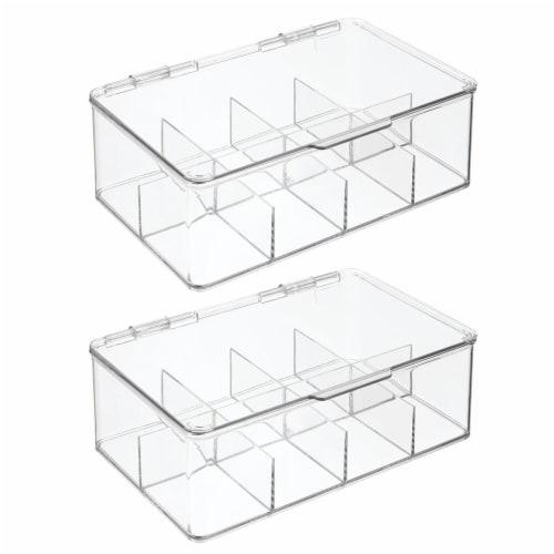 mDesign Stackable Plastic Tea Bag Organizer Kitchen Storage Box, 2 Pack Perspective: front