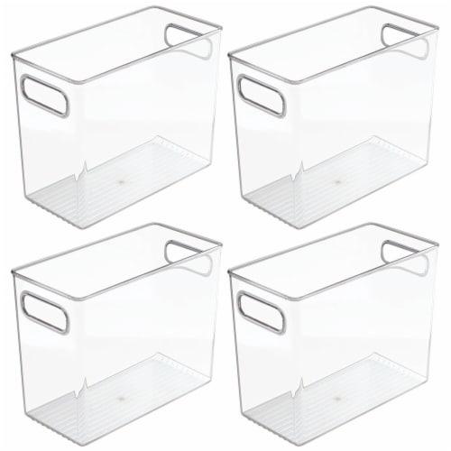 mDesign Tall Plastic Kitchen Food Storage Organizer Bin, Handles, 4 Pack Perspective: front