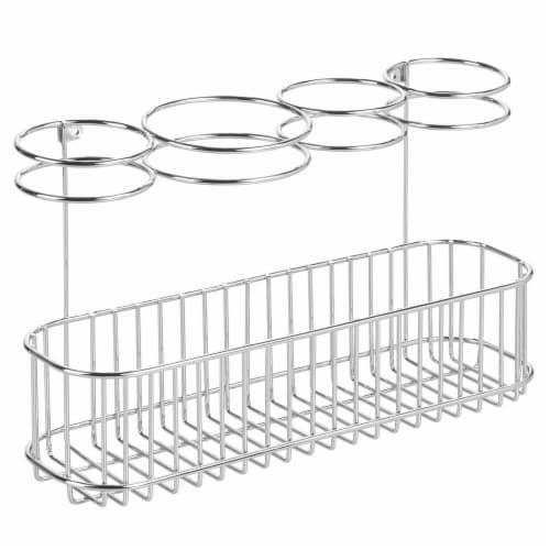 mDesign Metal Cabinet/Wall Mount Hair Care Styling Tool Storage Basket - Chrome Perspective: front