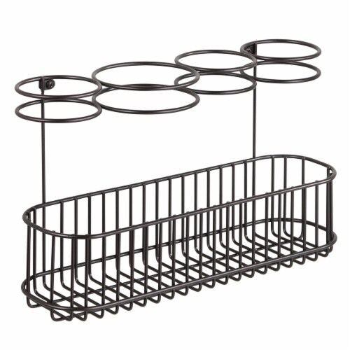 mDesign Metal Cabinet/Wall Mount Hair Care Styling Tool Storage Basket - Bronze Perspective: front