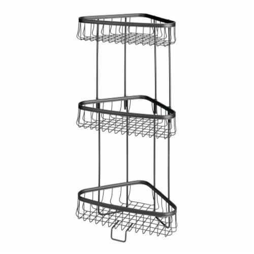 mDesign Metal 3-Tier Vertical Corner Shelf Unit for Bathroom Storage - Black Perspective: front