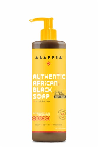 Alaffia Authentic Antioxidant-Rich Rose Matcha African Black Soap Body Wash Perspective: front