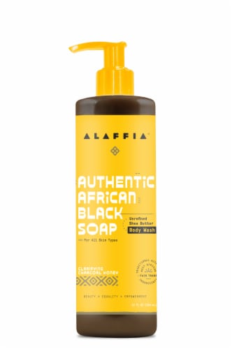 Alaffia Authentic Clarifying Charcoal Honey African Black Soap Body Wash Perspective: front