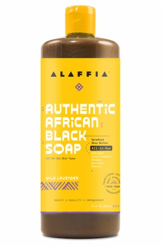 Alaffia Authentic Wild Lavender African Black Soap All-In-One Soap Perspective: front