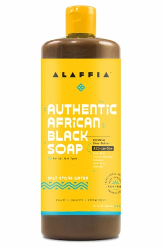 Alaffia Authentic Salt Stone Water African Black Soap All-In-One Perspective: front